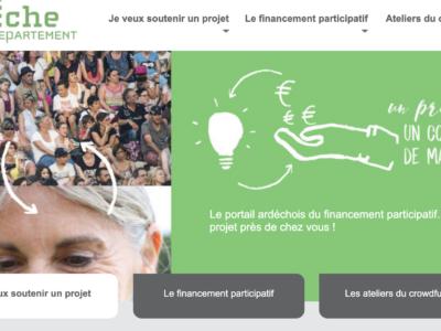 Capture du site web du département de l'Ardèche, section projets participatif
